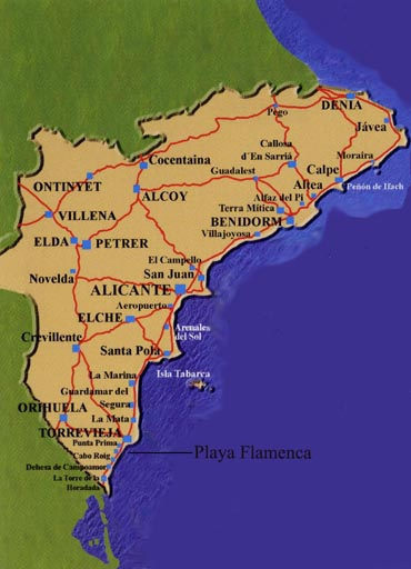 map of playa flamenca on the costa blanca