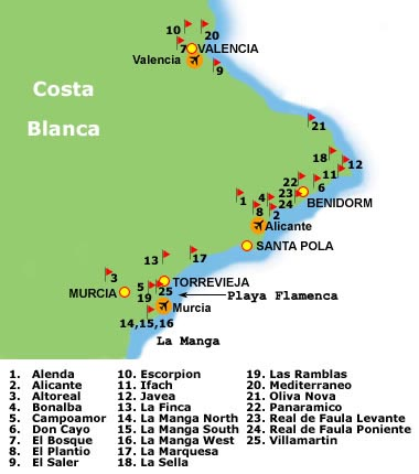 Costa Blanca golf map