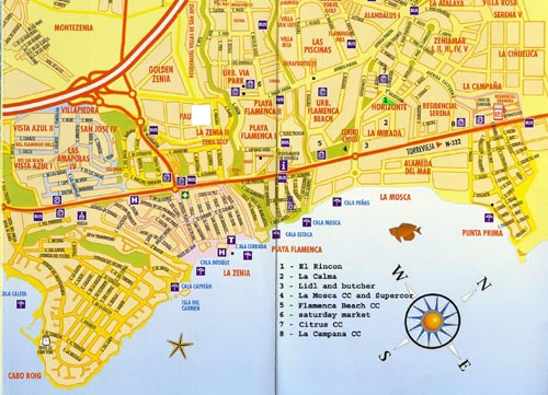 Playa Flamenca Street Map on Food To Contact