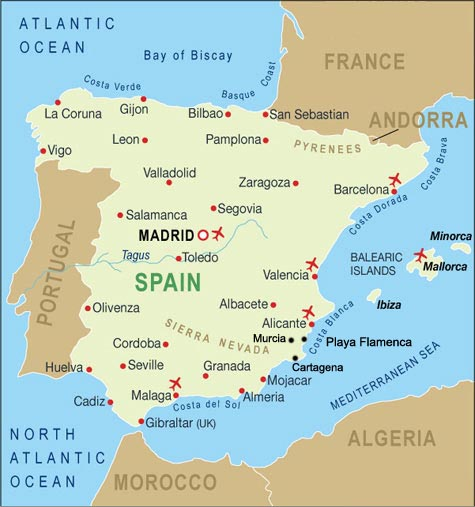 map of Spain and Playa Flamenca