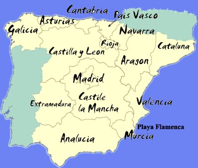 Map of Playa Flamenca in Spain